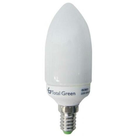 Total Green Bec economic 9W lumanare, E14, lumina rece, fluorescent